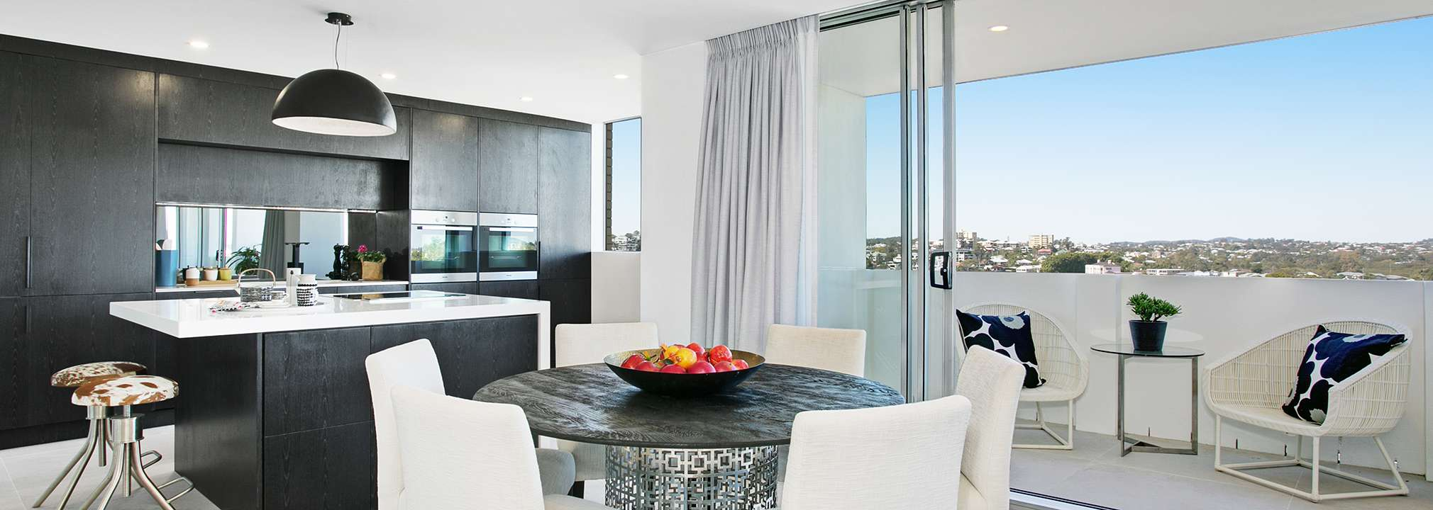 kitchen and dining in a unit